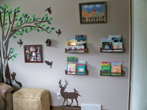 right wall with books and painting