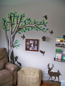right wall with decal